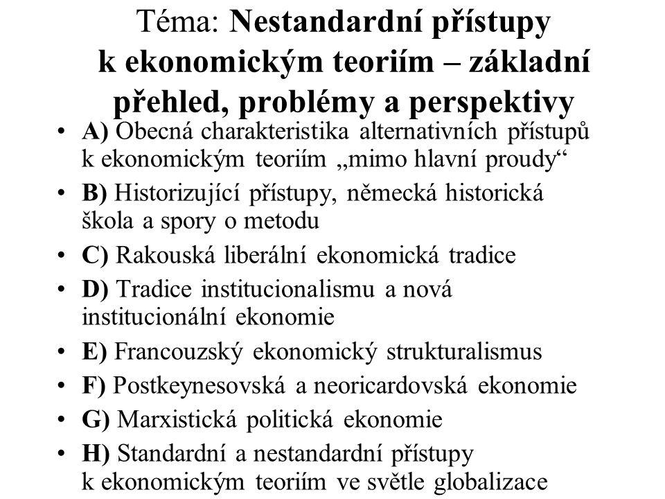 Téma: Nestandardní přístupy k ekonomickým teoriím – základní přehled, problémy a perspektivy