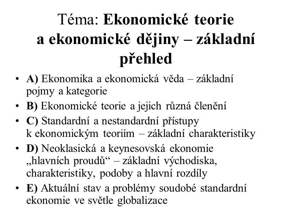 Téma: Ekonomické teorie a ekonomické dějiny – základní přehled