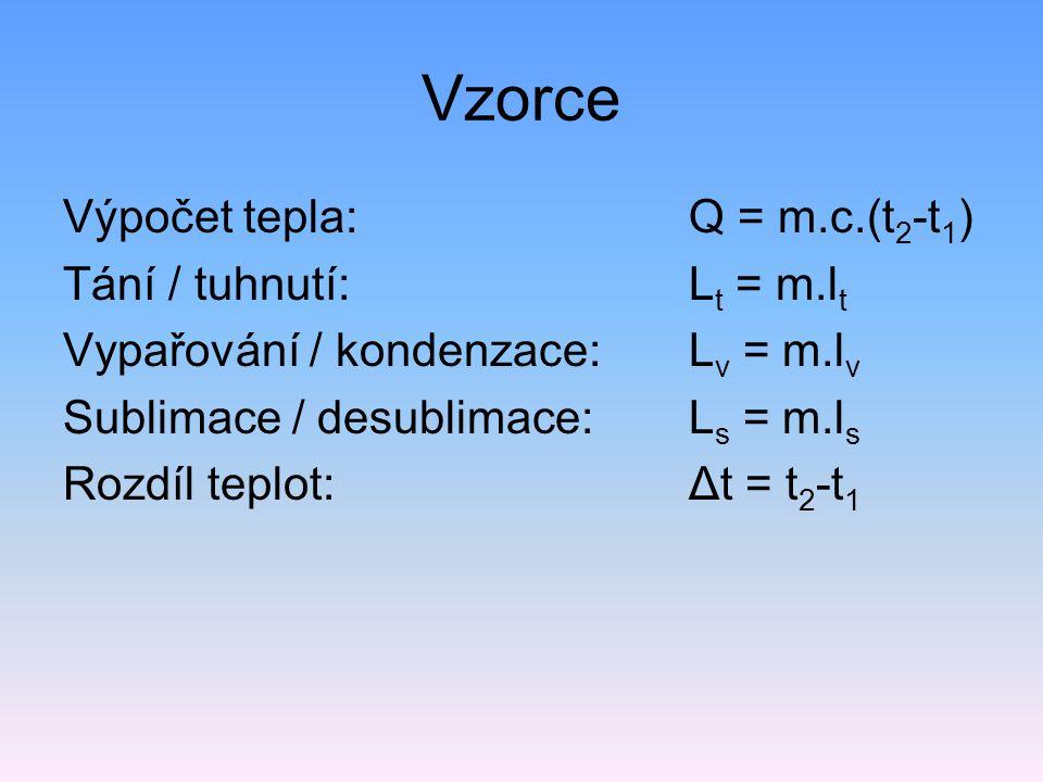 Vzorce Výpočet tepla: Q = m.c.(t2-t1) Tání / tuhnutí: Lt = m.lt