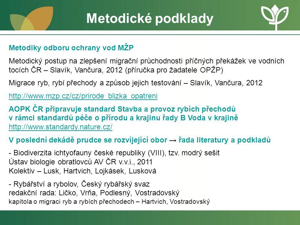 Metodické podklady Metodiky odboru ochrany vod MŽP