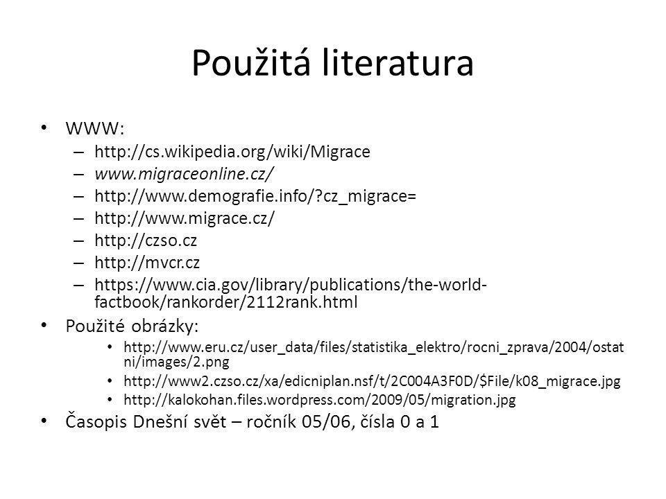 Použitá literatura WWW: Použité obrázky: