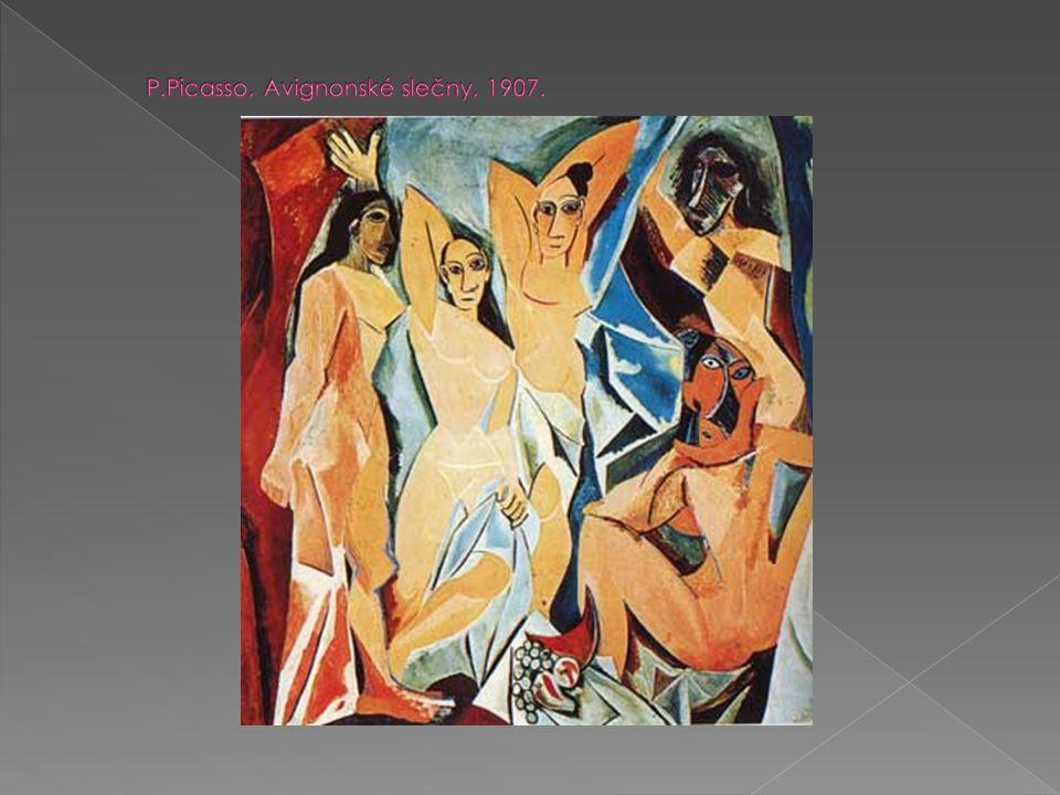 P.Picasso, Avignonské slečny, 1907.