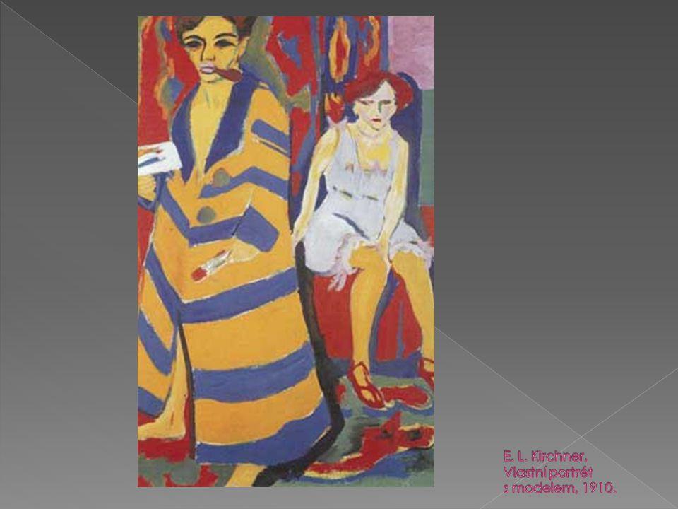 E. L. Kirchner, Vlastní portrét s modelem, 1910.