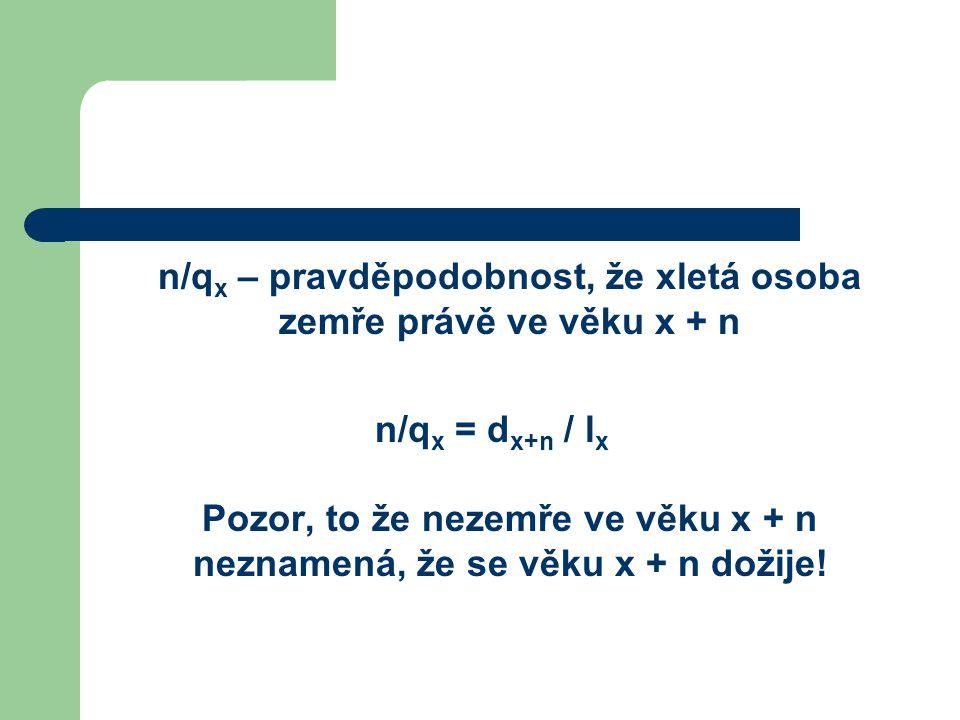 n/qx – pravděpodobnost, že xletá osoba zemře právě ve věku x + n
