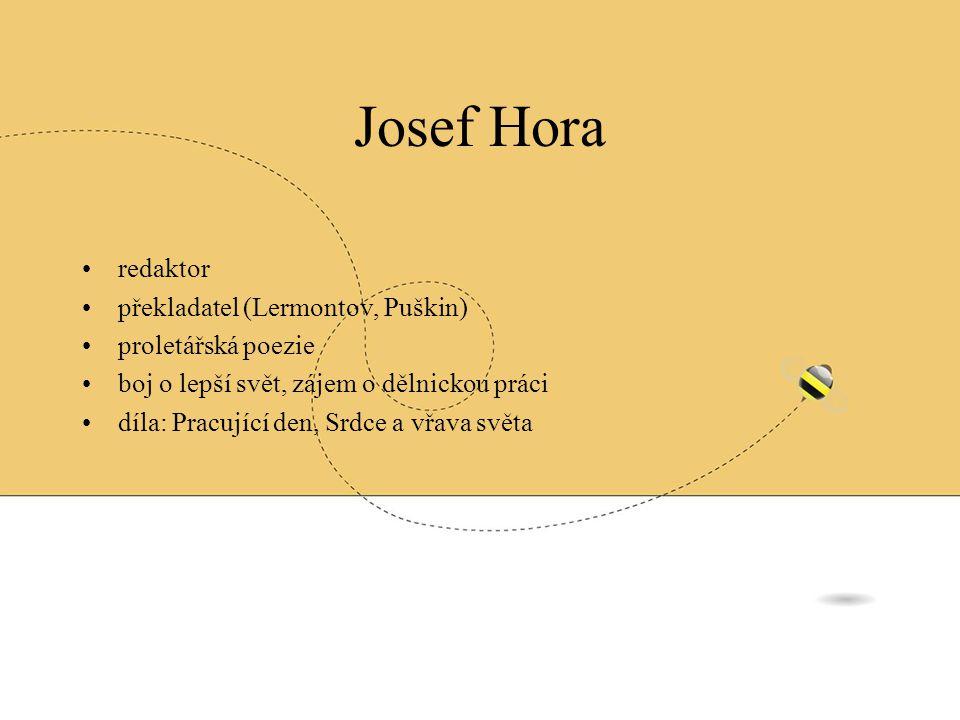 Josef Hora redaktor překladatel (Lermontov, Puškin) proletářská poezie
