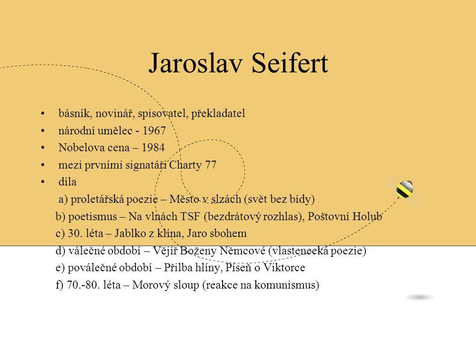 Jaroslav Seifert básník, novinář, spisovatel, překladatel