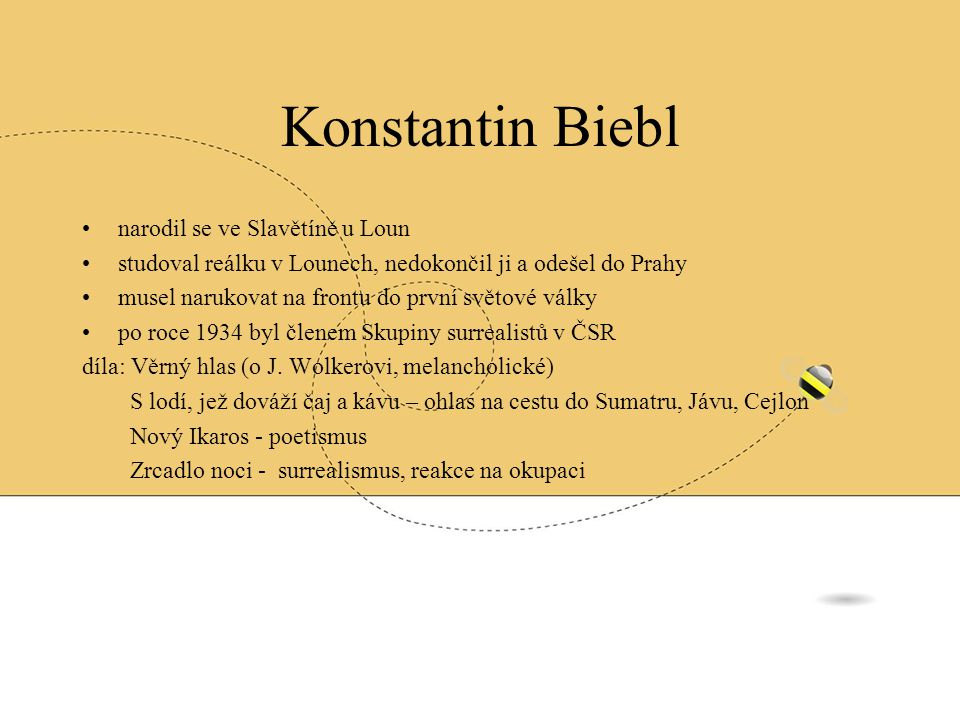 Konstantin Biebl narodil se ve Slavětíně u Loun