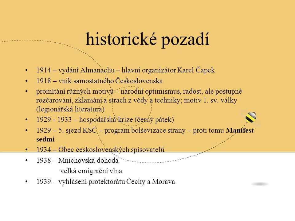 historické pozadí 1914 – vydání Almanachu – hlavní organizátor Karel Čapek. 1918 – vnik samostatného Československa.