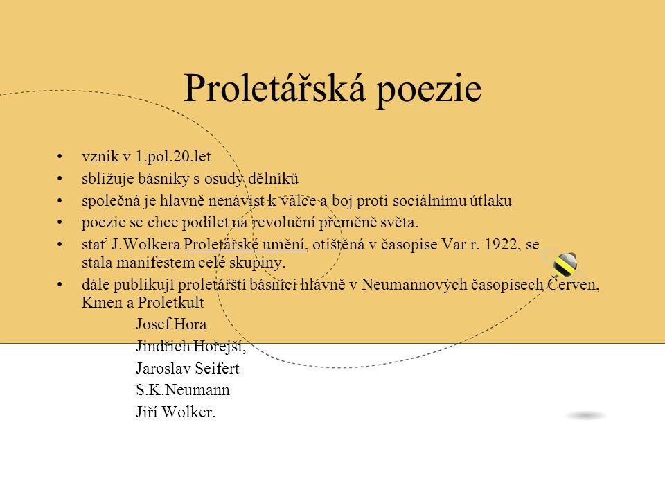 Proletářská poezie vznik v 1.pol.20.let