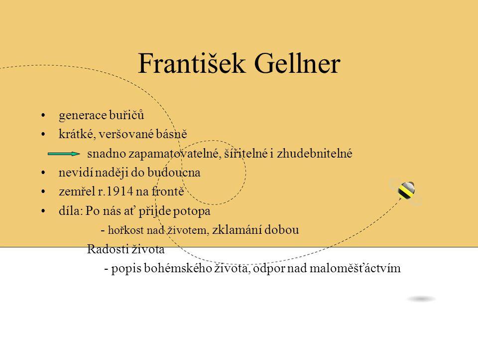 František Gellner generace buřičů krátké, veršované básně