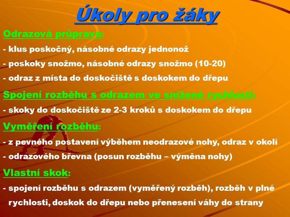 Úkoly pro žáky Odrazová průprava: