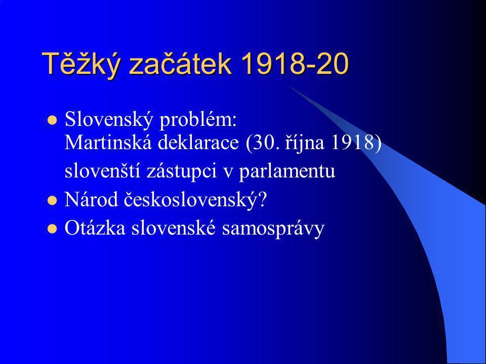 Těžký začátek 1918-20 Slovenský problém: Martinská deklarace (30. října 1918) slovenští zástupci v parlamentu.