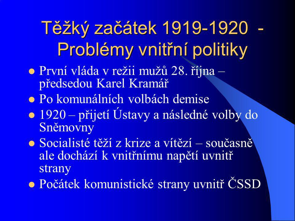 Těžký začátek 1919-1920 - Problémy vnitřní politiky
