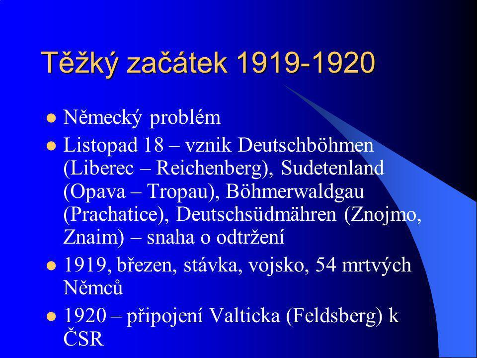 Těžký začátek 1919-1920 Německý problém