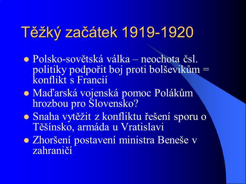 Těžký začátek 1919-1920 Polsko-sovětská válka – neochota čsl. politiky podpořit boj proti bolševikům = konflikt s Francií.