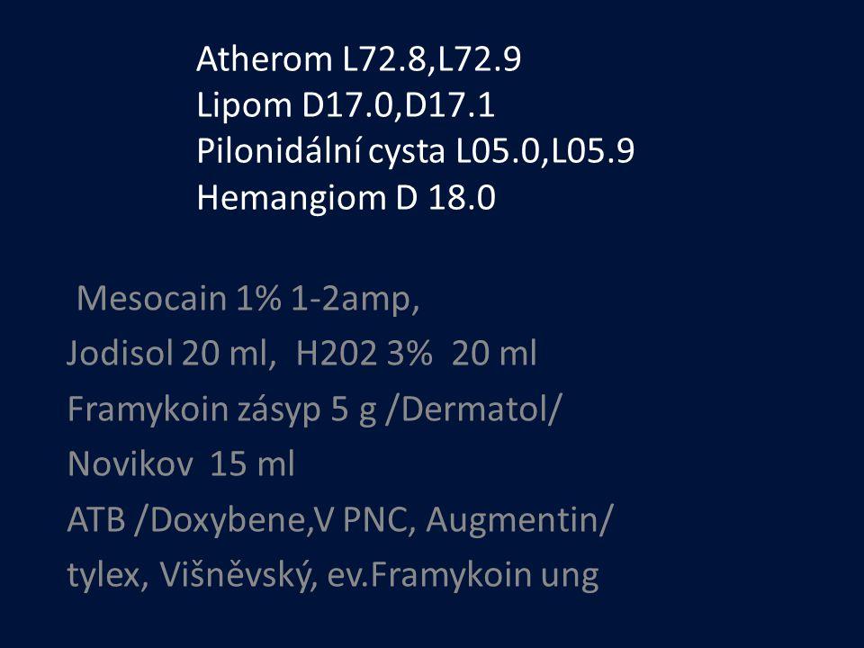 Atherom L72. 8,L72. 9 Lipom D17. 0,D17. 1 Pilonidální cysta L05. 0,L05
