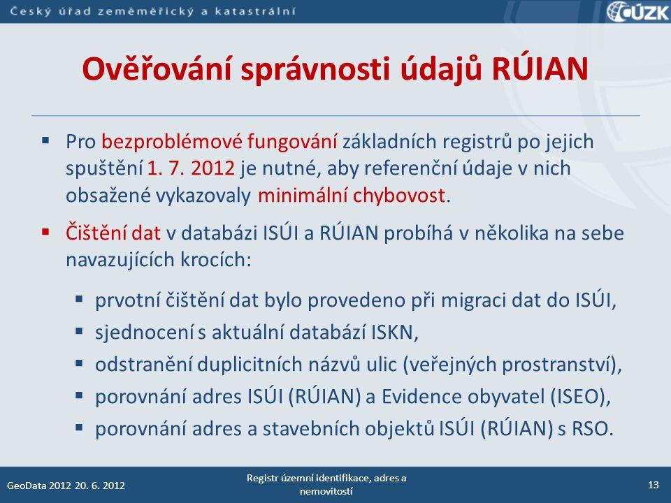 Ověřování správnosti údajů RÚIAN