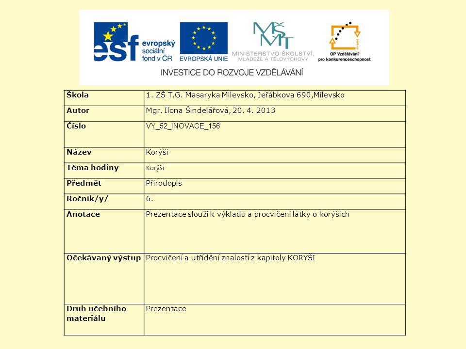 Škola 1. ZŠ T.G. Masaryka Milevsko, Jeřábkova 690,Milevsko. Autor. Mgr. Ilona Šindelářová, 20. 4. 2013.