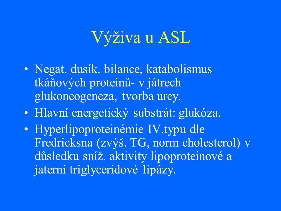 Výživa u ASL Negat. dusík. bilance, katabolismus tkáňových proteinů- v játrech glukoneogeneza, tvorba urey.