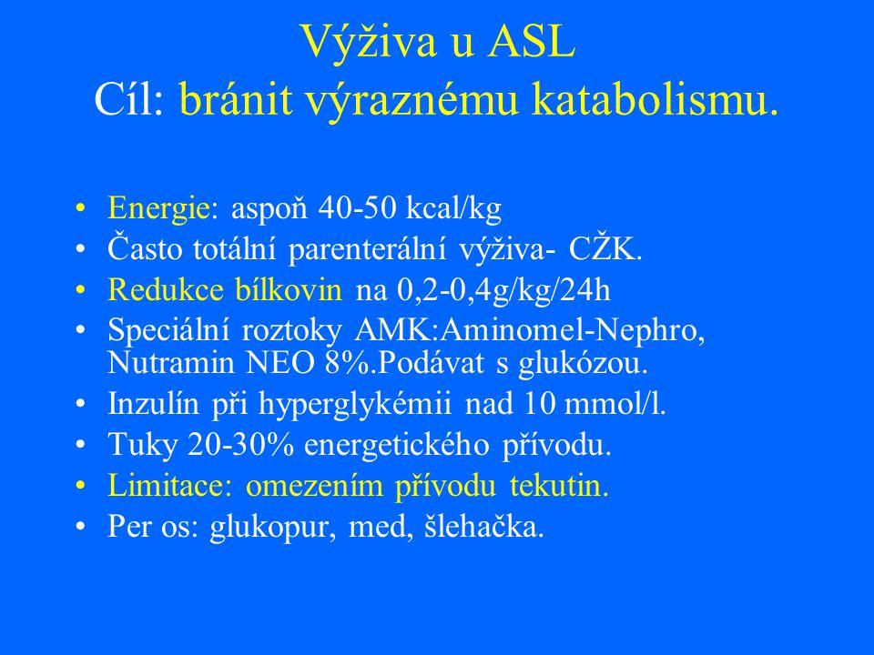 Výživa u ASL Cíl: bránit výraznému katabolismu.