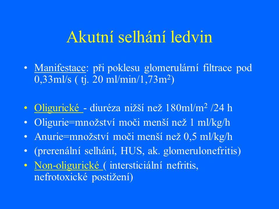 Akutní selhání ledvin Manifestace: při poklesu glomerulární filtrace pod 0,33ml/s ( tj. 20 ml/min/1,73m2)