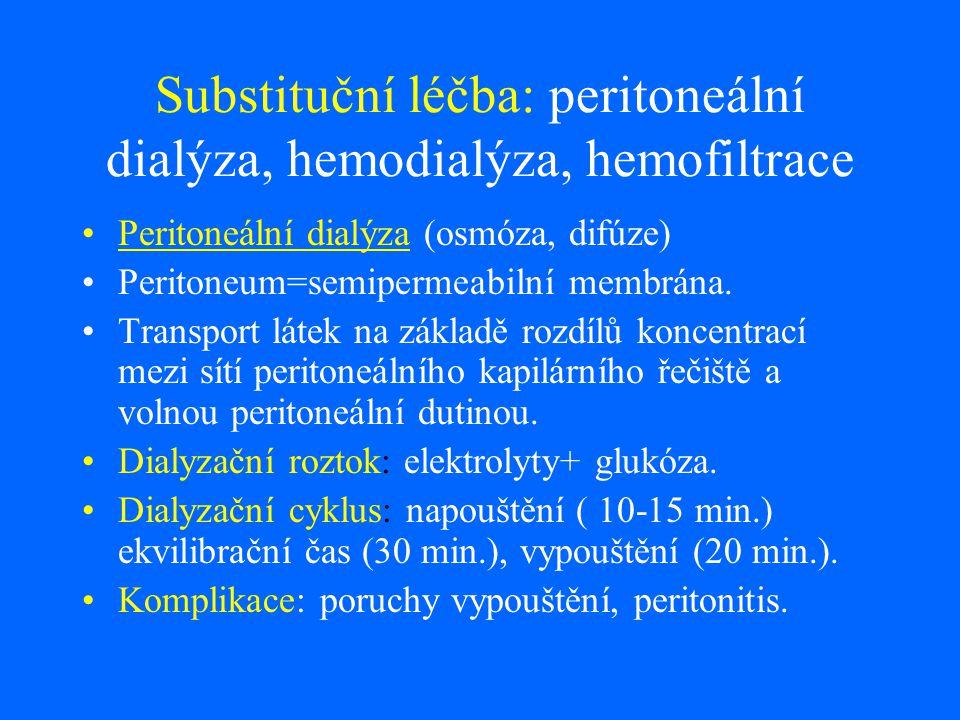 Substituční léčba: peritoneální dialýza, hemodialýza, hemofiltrace