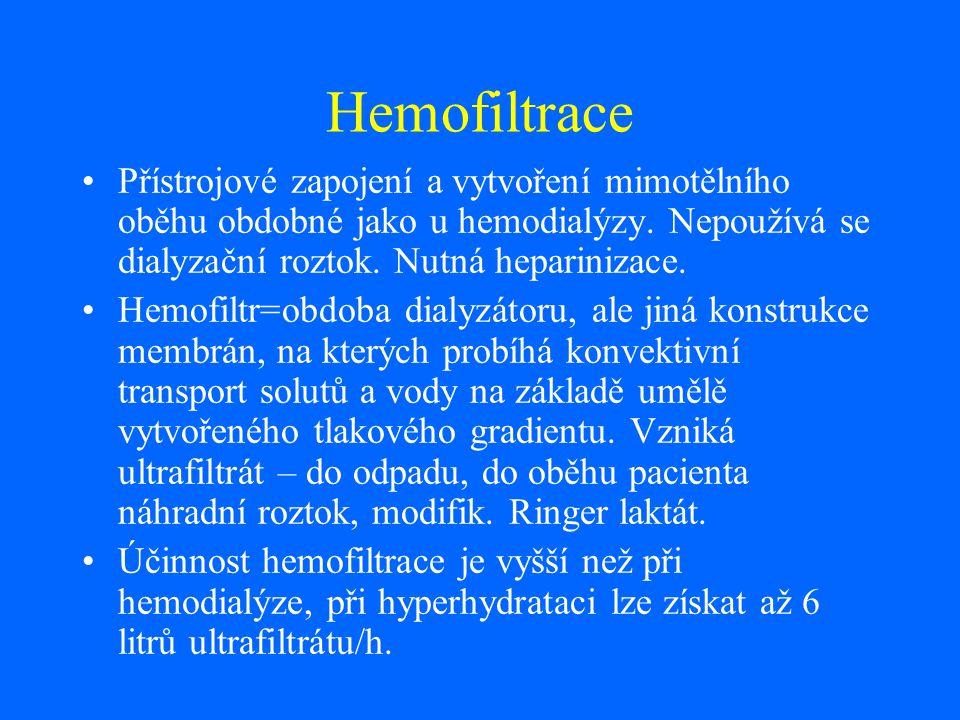 Hemofiltrace Přístrojové zapojení a vytvoření mimotělního oběhu obdobné jako u hemodialýzy. Nepoužívá se dialyzační roztok. Nutná heparinizace.