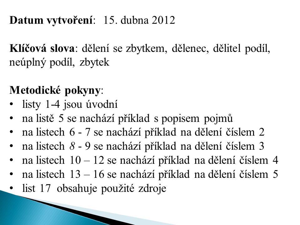 Datum vytvoření: 15. dubna 2012