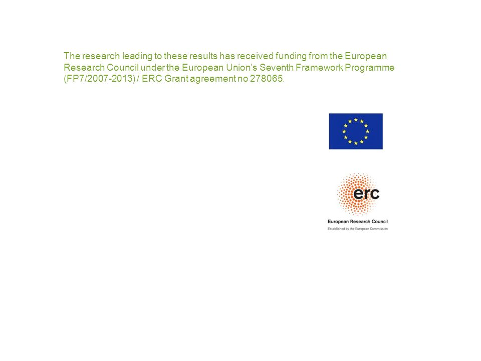 The research leading to these results has received funding from the European Research Council under the European Union's Seventh Framework Programme (FP7/2007-2013) / ERC Grant agreement no 278065.