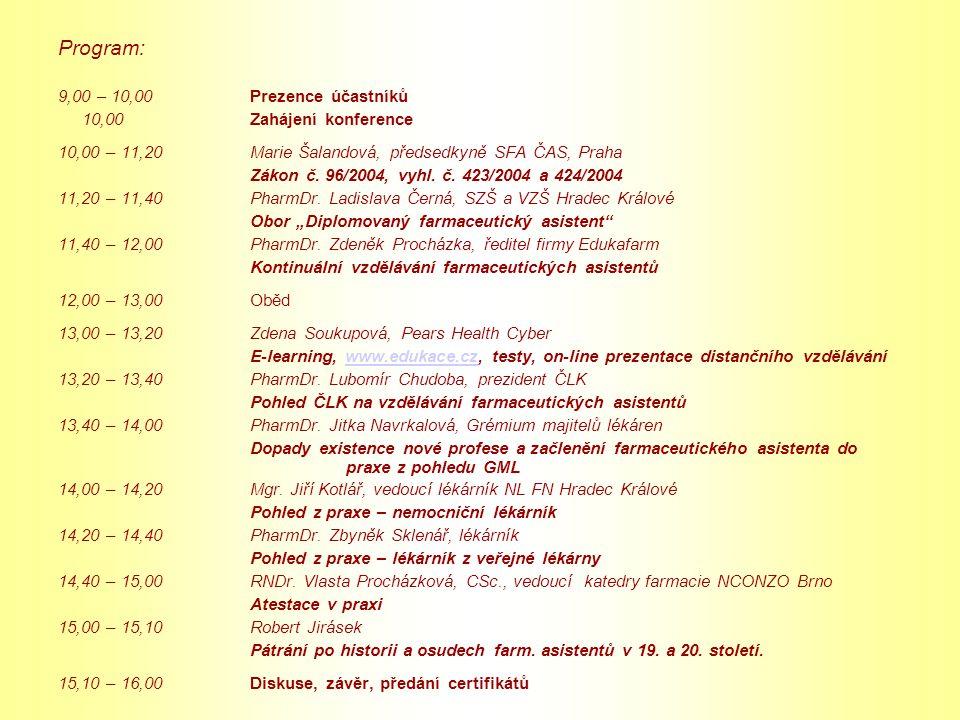 Program: 9,00 – 10,00 Prezence účastníků 10,00 Zahájení konference