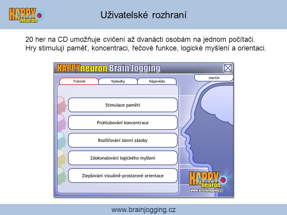 Uživatelské rozhraní 20 her na CD umožňuje cvičení až dvanácti osobám na jednom počítači.