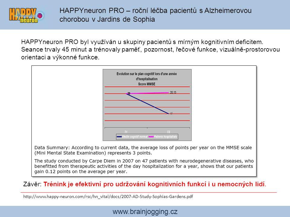 HAPPYneuron PRO – roční léčba pacientů s Alzheimerovou chorobou v Jardins de Sophia