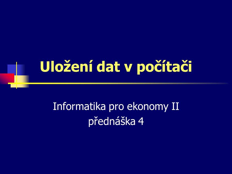 Informatika pro ekonomy II přednáška 4