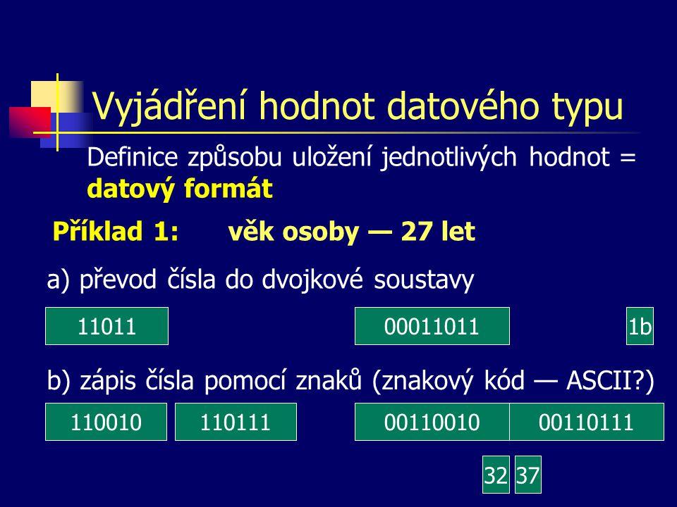 Vyjádření hodnot datového typu