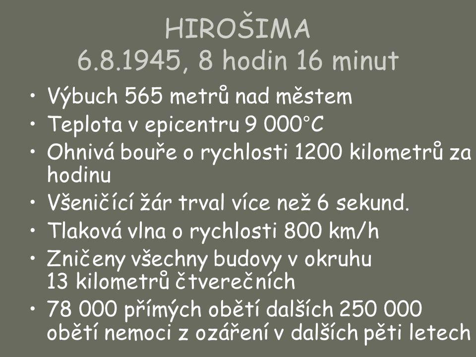 HIROŠIMA 6.8.1945, 8 hodin 16 minut Výbuch 565 metrů nad městem