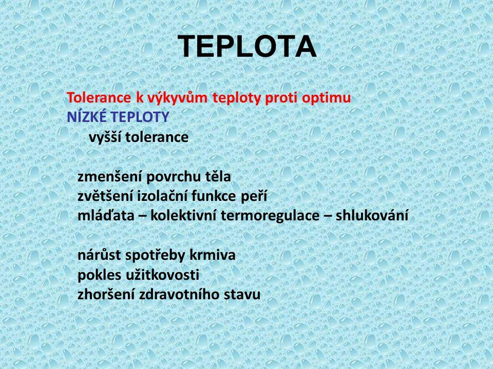 TEPLOTA Tolerance k výkyvům teploty proti optimu NÍZKÉ TEPLOTY