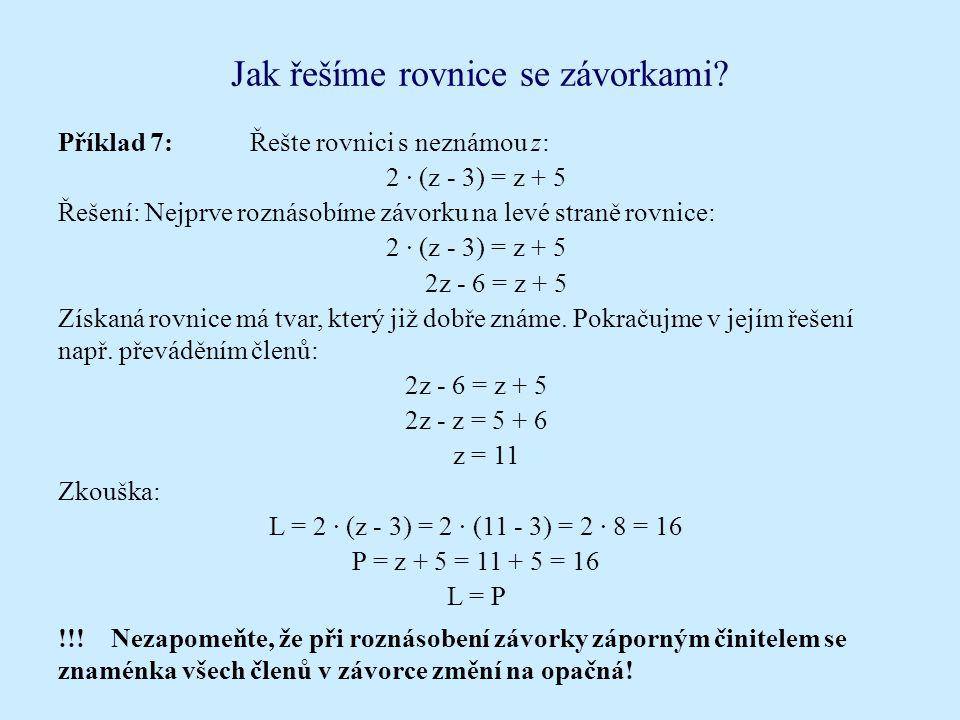 Jak řešíme rovnice se závorkami