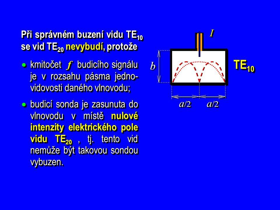 Při správném buzení vidu TE10 se vid TE20 nevybudí, protože