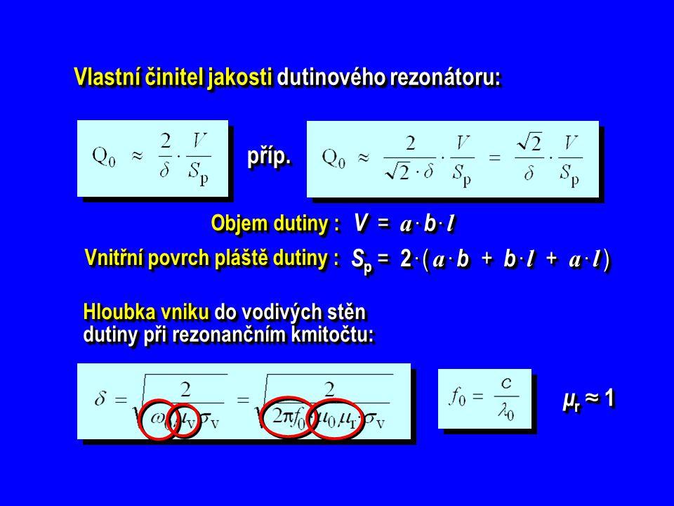 Vlastní činitel jakosti dutinového rezonátoru: