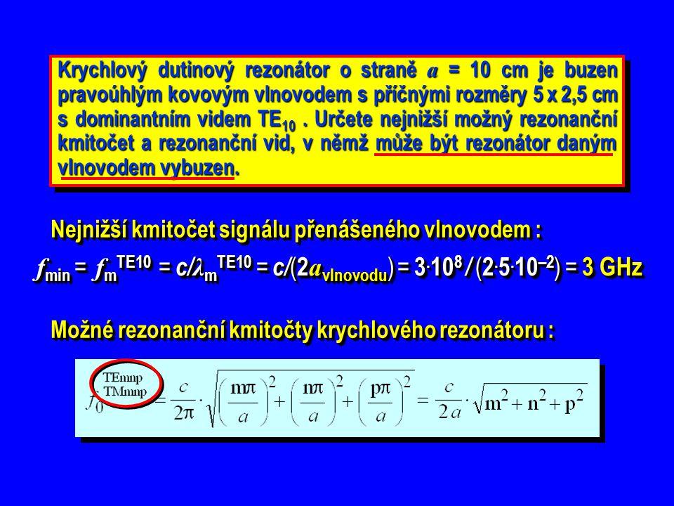 fmin = fmTE10 = c/λmTE10 = c/(2avlnovodu) = 3.108 / (2.5.10–2) = 3 GHz