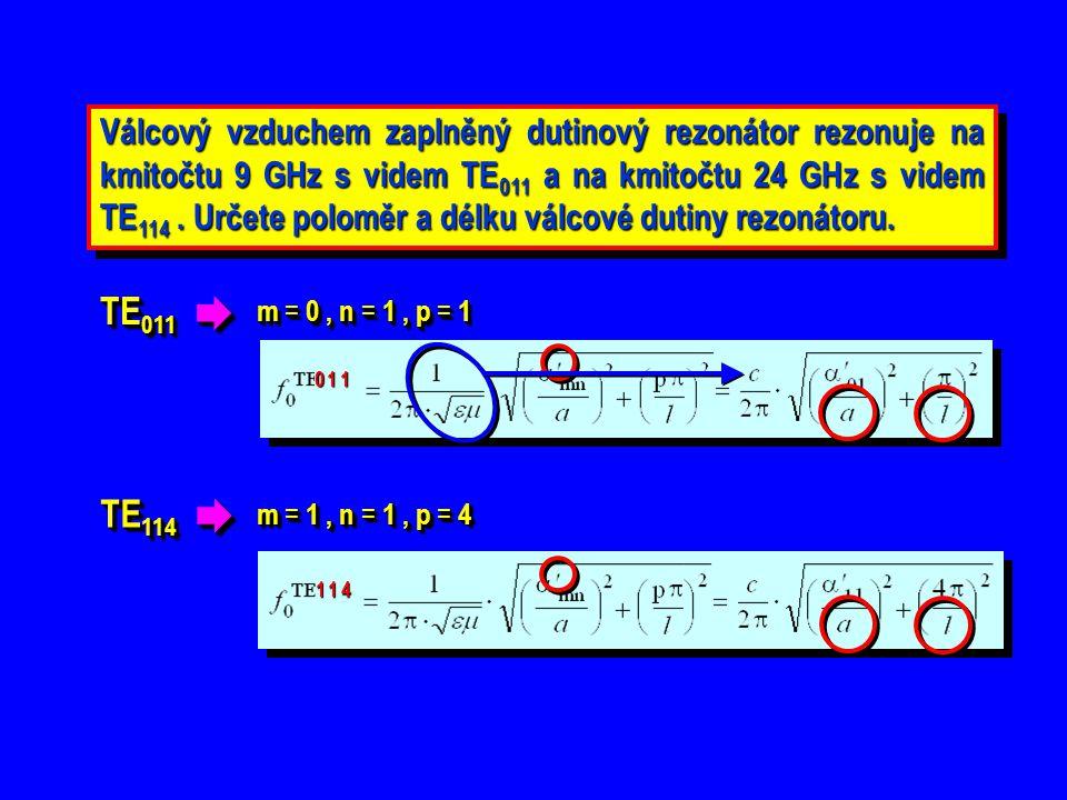 Válcový vzduchem zaplněný dutinový rezonátor rezonuje na kmitočtu 9 GHz s videm TE011 a na kmitočtu 24 GHz s videm TE114 . Určete poloměr a délku válcové dutiny rezonátoru.