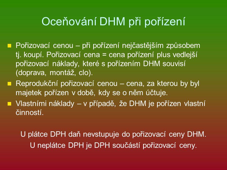 Oceňování DHM při pořízení