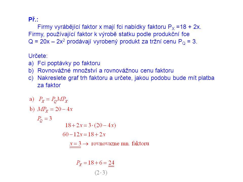 Př.: Firmy vyrábějící faktor x mají fci nabídky faktoru PX =18 + 2x. Firmy, používající faktor k výrobě statku podle produkční fce.