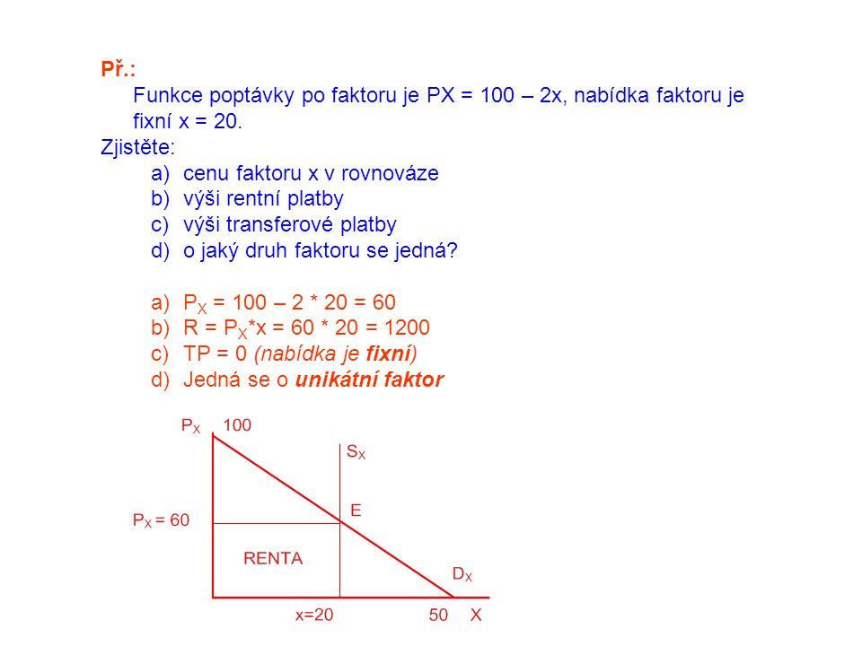Př.: Funkce poptávky po faktoru je PX = 100 – 2x, nabídka faktoru je fixní x = 20. Zjistěte: cenu faktoru x v rovnováze.
