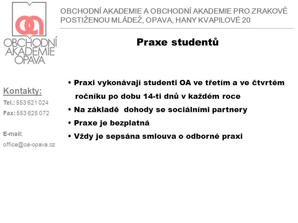 Praxe studentů Kontakty: