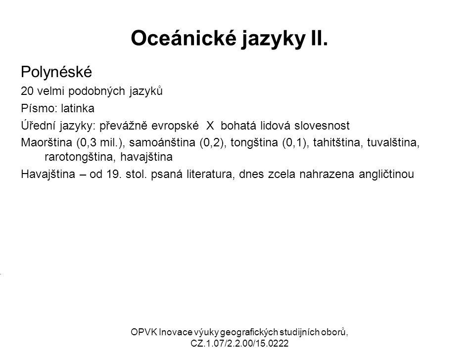 Oceánické jazyky II. Polynéské 20 velmi podobných jazyků