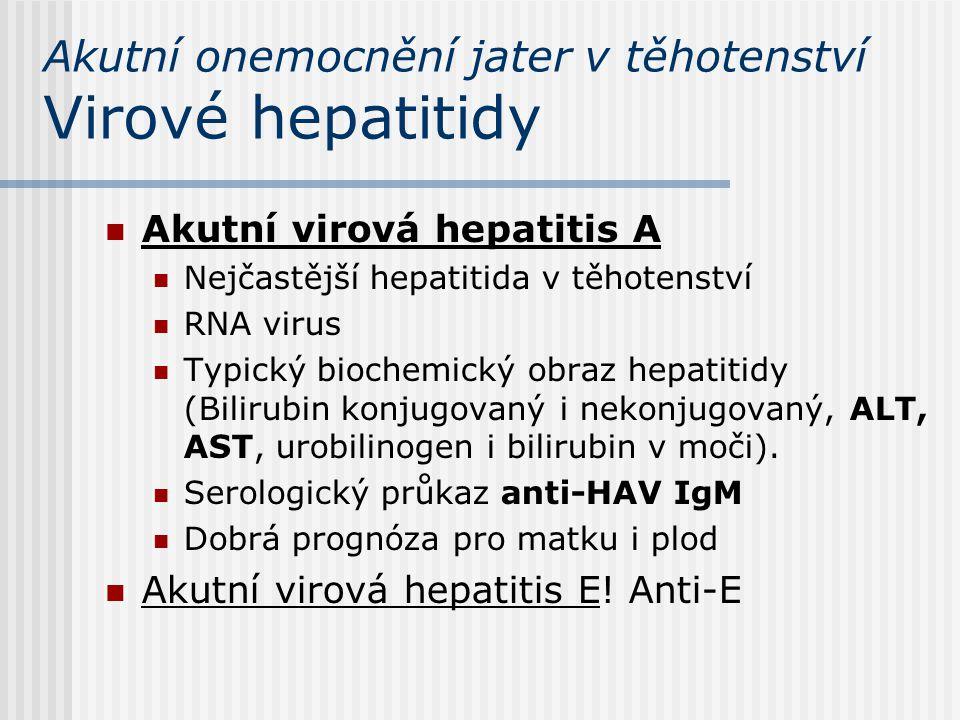 Akutní onemocnění jater v těhotenství Virové hepatitidy