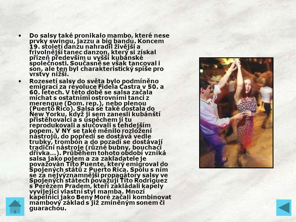 Do salsy také pronikalo mambo, které nese prvky swingu, jazzu a big bandu. Koncem 19. století danzu nahradil živější a frivolnější tanec danzon, který si získal přízeň především u vyšší kubánské společnosti. Současně se však tancoval i son, ale ten byl charakteristický spíše pro vrstvy nižší.