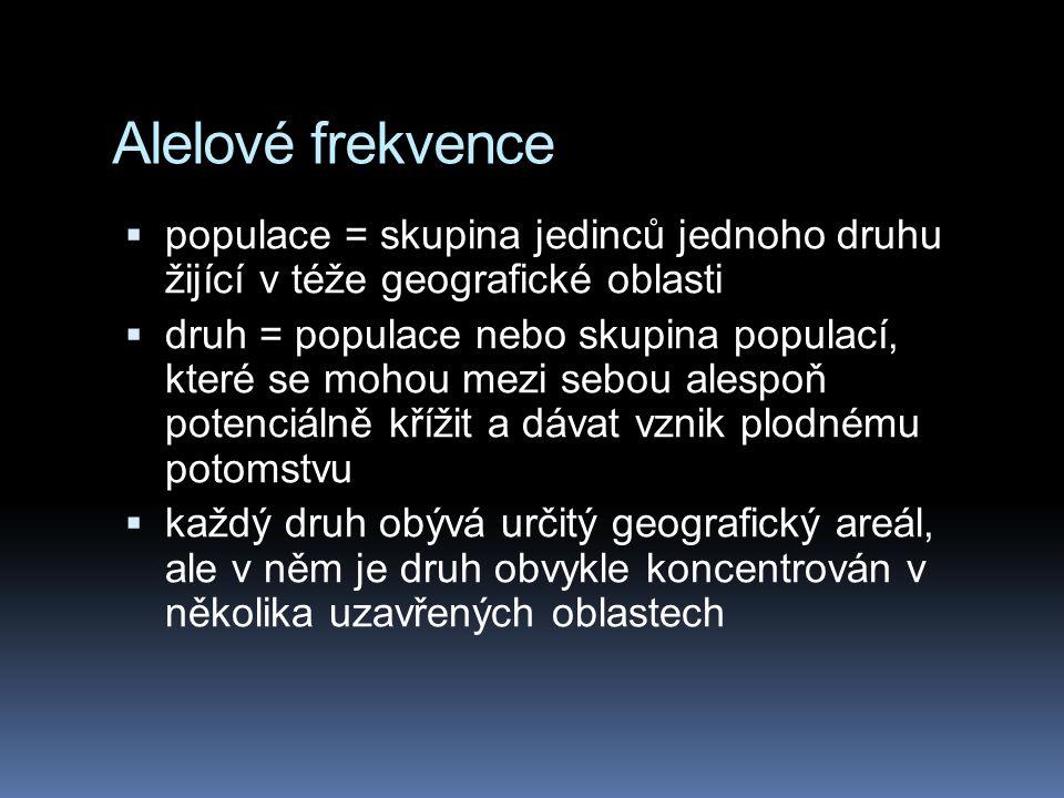 Alelové frekvence populace = skupina jedinců jednoho druhu žijící v téže geografické oblasti.