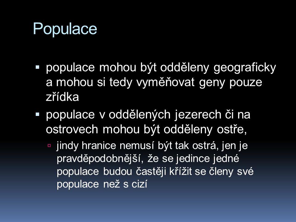Populace populace mohou být odděleny geograficky a mohou si tedy vyměňovat geny pouze zřídka.